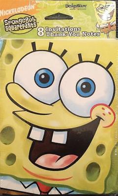 SpongeBob Square Pants Invitations & Thank You Postcards 8 Ea Per Package NEW - Spongebob Thank You