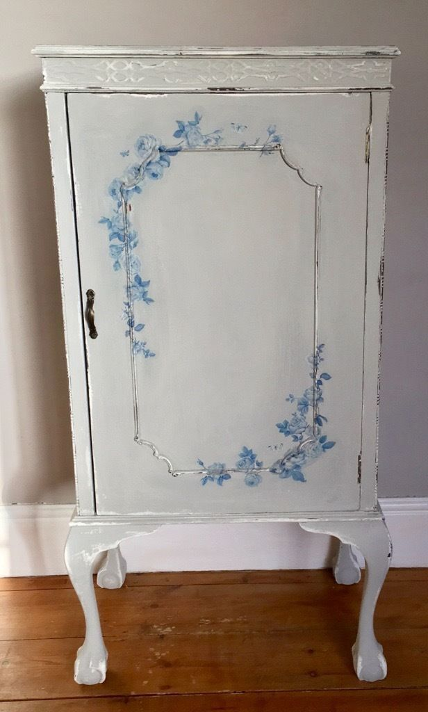French Style Cabinetin Crediton, DevonGumtree - This is a lovely piece of furniture a solid wood cabinet on claw feet. Very Faded French Chic, it has been painted in Everlong Earl Grey over Vintage White; decoupaged with blue flowers. It has been distressed to allow the Vintage White paint and...