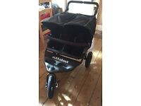 As New - Out n About V4 Double Nipper 360 Raven Black Pushchair Buggy Pram