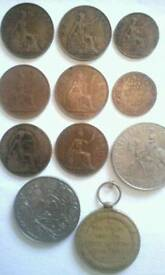 Old british coins/ ww1 medal