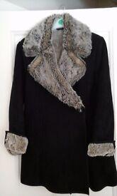 Black lined ladies winter jacket size 10