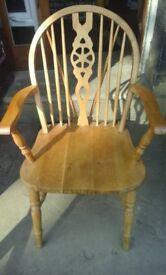 Wheelback oak carver chair