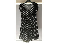 Size 12 Black and white Polka Dot Maternity Dress New Look