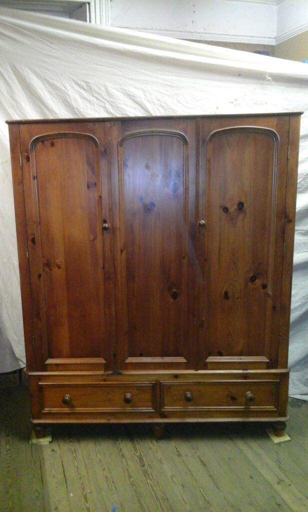Pine tripple wardrobe, victorian style