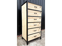 Industrial Black Metal & Wood Tall Boy/ Chest Of Drawers by Maisons Du Monde