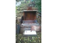 Second Hand Large Woodburner Benjamin Franklin Stove with BBQ Grill inside £70 ONO Hay on Wye