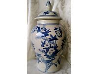 CHINESE Blue and White Very Large Temple Jar Lidded Urn Vase Bird Tree Pattern
