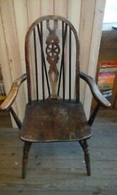 Vintage wheelback carver chair