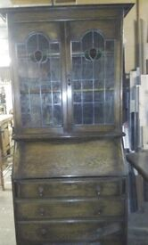 Beautiful oak bureau with combined cabinet with stained glass panels
