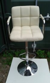 Barstool - 360 degree swivel. Cream Faux Leather. Delivery Available.