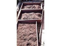 Raised hardwood vegetable beds