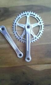 On one 3 piece crank & brakes