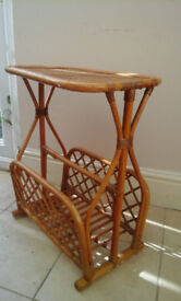 Rattan Table with Magazine Rack