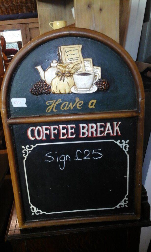 Wooden sign, coffee break