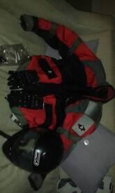 Motorcycle armoured jacket. .gloves..helmet