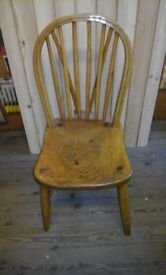 Solid oak wheelback chair