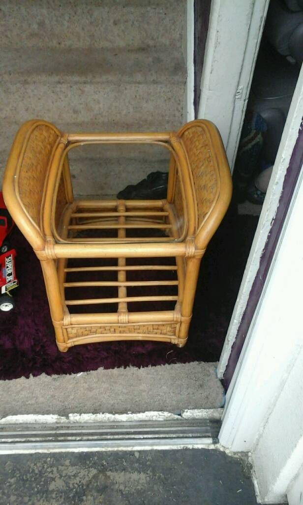 Wicker/cane table with glass top feel free to contact me