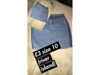 River island ladies / girls size 10 denim skirt