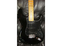 For Sale my Squier Vintage Modified 70s Stratocaster in Black with a maple neck/fretboard