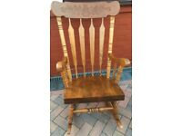 ROCKING CHAIR ALL WOOD BEECH COLONIAL STYLE PLEASE VEIW ALL 9 PHOTOS