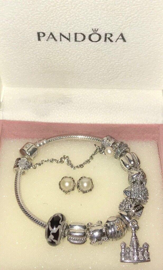 6e1b91f9d ... authentic genuine pandora bracelet with free earrings 038fe b9ad9