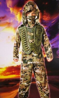 Boys Desert COMMANDER Army  Soldier Military Halloween Purim Costume Sm 4 6 NEW](Military Halloween Costumes For Boys)