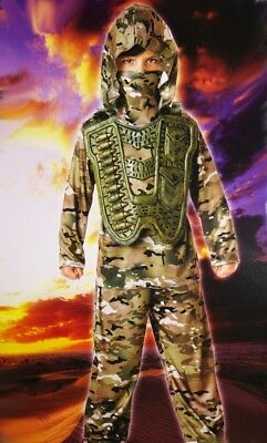 Boys Desert COMMANDER Army  Soldier Military Halloween Purim Costume Sm 4 6 NEW - Male Army Costume
