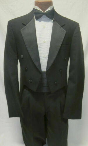 Boys Black Tailcoat Tails Satin Notch Lapel Long Coat Ball Sizes 3-18 TUXXMAN