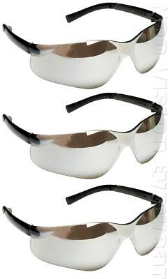 3 Pairpack Radians Rad Atac Silver Mirror Safety Glasses Sunglasses Z87.1