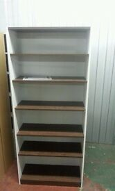 Maine Tall and Wide Extra Deep Bookcase - wenge and grey