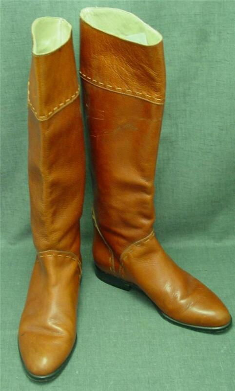 Women Andre Assous Brown British Tan Pebble Leather Tall flat Riding Boot 6.5M