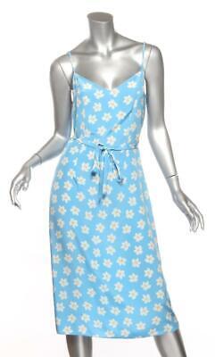 TENDER LOVING CARE for HVN Floral Silk Spaghetti Strap Belt Midi Dress US6 S NEW