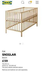 Ikea wooden cot and matress