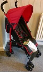 New Fisher-Price Black & Red Pushchair - Inc Footmuff
