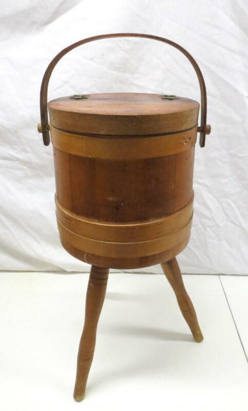 Antique Firkin Sugar Bucket Sewing Basket Stand 3 Leg Stapled Bands Amish Shaker