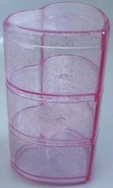 Plastic Sparkly Pink 3 Tier Heart Shaped Storage Pot / Trinket Box