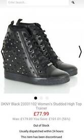 Dkny wedge leather trainers