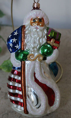 "VERY RARE ~ CHRISTOPHER RADKO LARGE 8-1/4"" * STARS AND STRIPES SANTA * ORNAMENT"