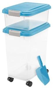 NEW 3- Piece Airtight Pet Food Storage Container Combo, Blue Moon