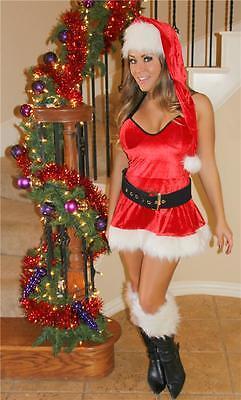 Red Velvet Mrs Claus Christmas Holiday Lingerie Dress - Velvet Holiday Dress Kostüme