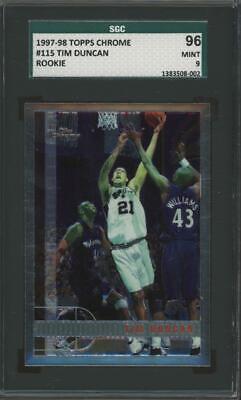 1997 Topps Chrome #115 Tim Duncan RC Rookie Mint PSA 9 96