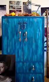 Refurbished quirky 1920's armoire/wardrobe with watercolour effect fronts