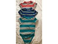 Set of 3 baby Gap cotton t shirt rompers.