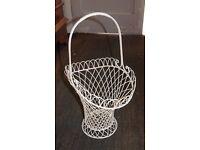 4 Vintage Cream Iron Flower Baskets