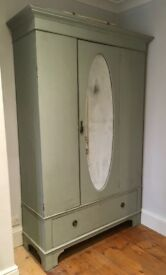 Antique Edwardian Double Wardrobe painted with Annie Sloan chalk paint in shabby chic style