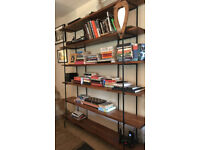 Oak and Wrought Iron book case / stand