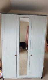 3 door mirrored wardrobe, brand new, light grey