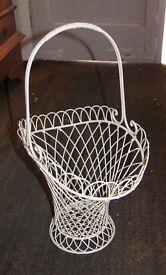 4 Cream Iron Vintage Flower Baskets