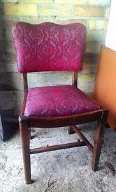 Vintage Oak 1940s Maroon Covered Chair