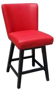 Lipstick Red Faux Leather Swivel Kitchen Counter Height Stool with Back